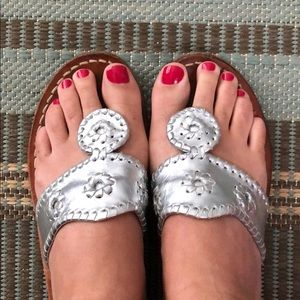 Jack Rogers silver sandals